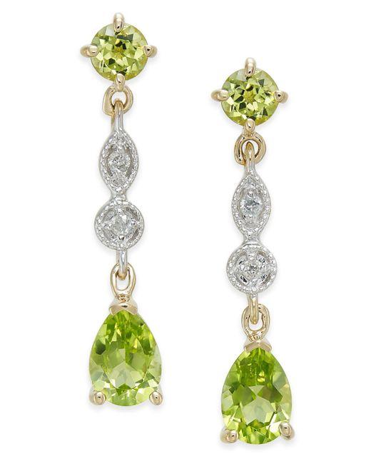 Macy's - Multicolor Peridot (2-1/3 Ct. T.w.) & Diamond Accent Drop Earrings In 14k Gold - Lyst