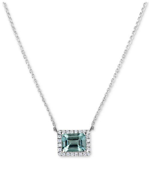 "Macy's - Metallic Aquamarine (1-5/8 Ct. T.w.) & Diamond (1/6 Ct. T.w.) 16"" Pendant Necklace In 14k White Gold - Lyst"