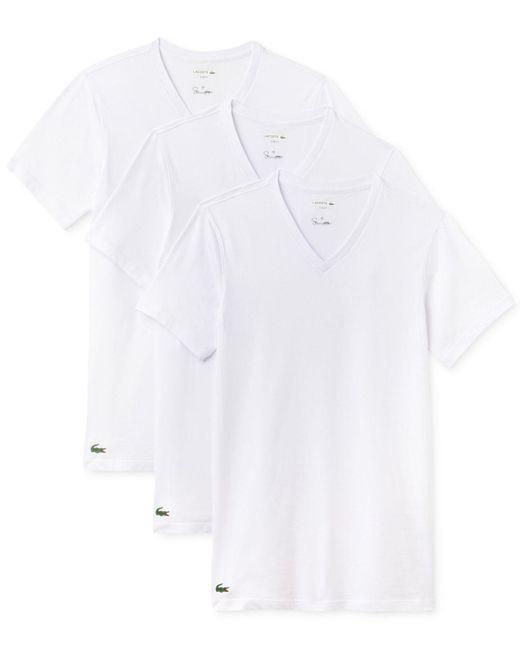 Lacoste - White Men's 3-pk. Cotton V-neck Undershirts for Men - Lyst