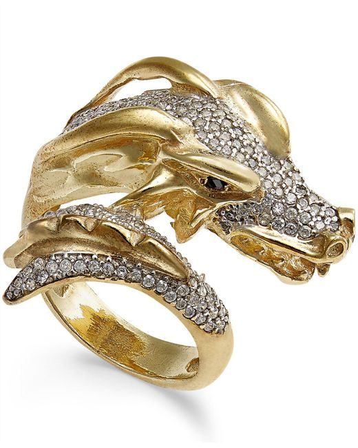 Macy's - Metallic Diamond Dragon Bypass Ring (1 Ct. T.w.) In 14k Gold-plated Sterling Silver - Lyst