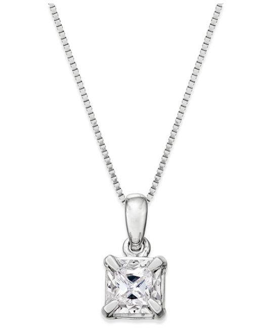 Macy's - Metallic Princess-cut Diamond Solitaire Pendant Necklace (1/4 Ct. T.w.) In 14k White Gold - Lyst