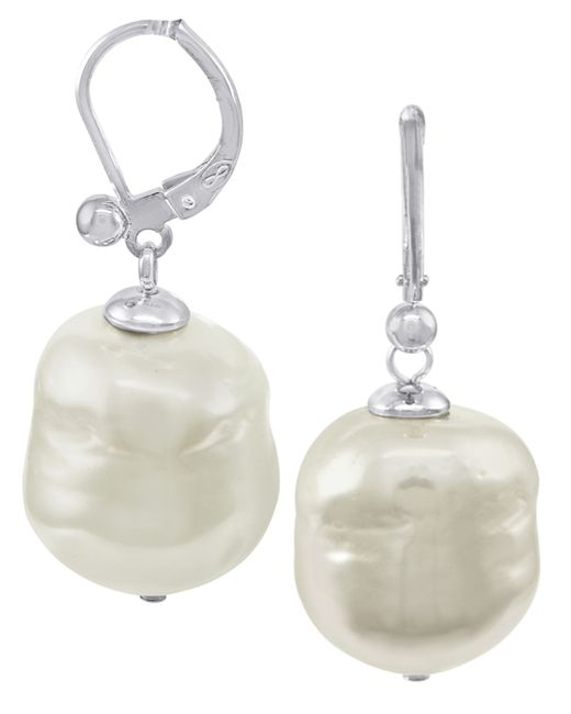 Majorica | White Pearl Earrings, Sterling Silver Baroque Organic Man-made Pearl Drop | Lyst