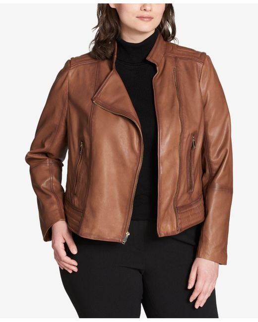 DKNY - Multicolor Plus Size Asymmetrical Leather Jacket - Lyst