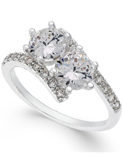 Charter Club | Metallic Silver-tone Cubic Zirconia 2-stone Ring | Lyst