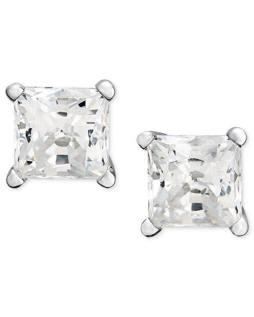 Macy's | Metallic Princess-cut Diamond Stud Earrings In 14k White Gold (3/4 Ct. T.w.) | Lyst