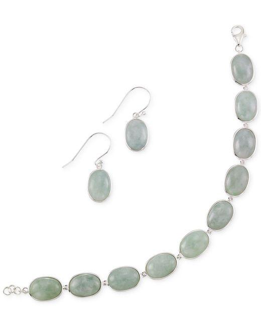 Macy's | White Jade Earring And Bracelet Set In Sterling Silver (13mm) | Lyst