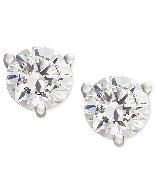 Macy's | Metallic Near Colorless Certified Diamond Stud Earrings In 18k White Or Yellow Gold (1-1/4 Ct. T.w.) | Lyst