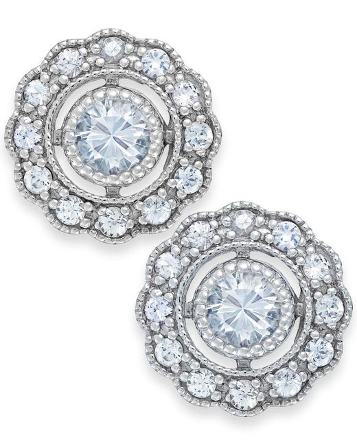 Macy's - Metallic White Sapphire Stud Earrings In 14k White Gold (7/8 Ct. T.w.) - Lyst