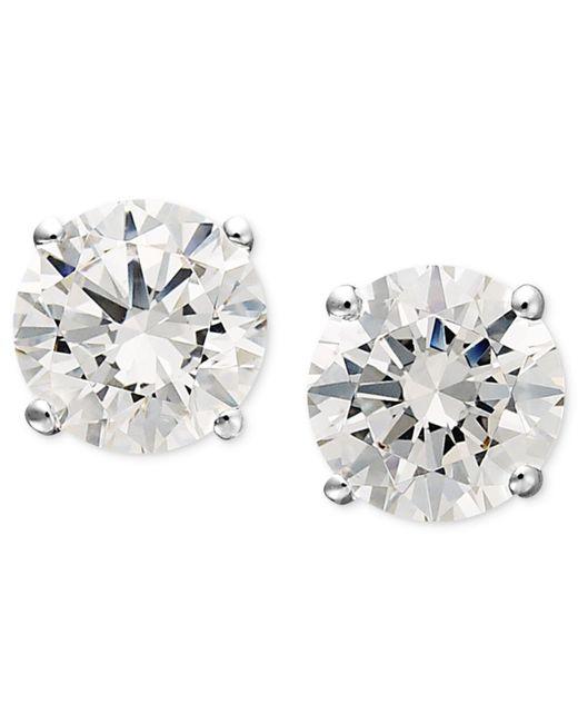 Arabella - Metallic 14k White Gold Earrings, Swarovski Zirconia Round Stud Earrings (1-3/4 Ct. T.w.) - Lyst