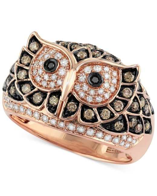 Effy Collection | Metallic White And Brown Diamond Owl Ring (3/4 Ct. T.w.) In 14k Rose Gold | Lyst