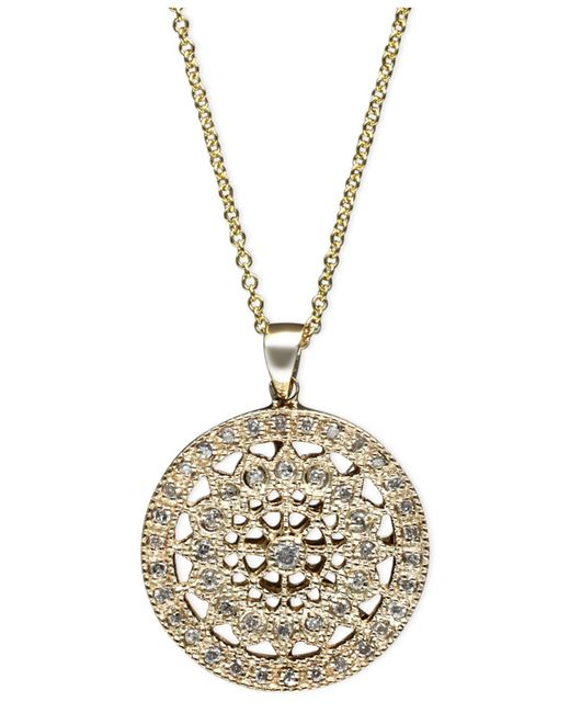 Effy Collection - Metallic Diamond Disc Pendant Necklace (1/4 Ct. T.w.) In 14k White Gold - Lyst