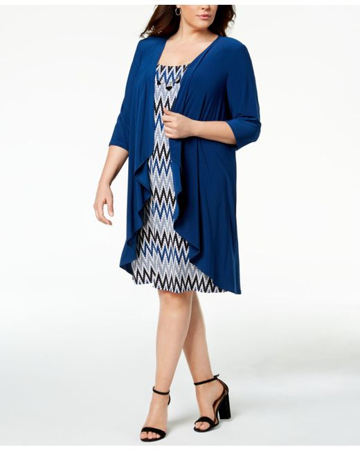 R & M Richards - Blue Plus Size Printed Dress, Waterfall Jacket & Necklace - Lyst