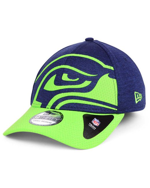 huge selection of 7c04a bd054 ... KTZ - Blue Seattle Seahawks Oversized Laser Cut Logo 39thirty Cap for  Men - Lyst ...