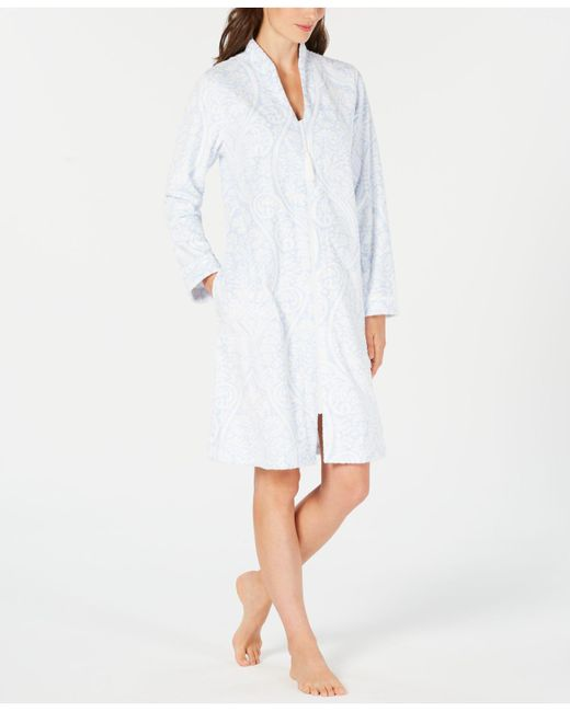 Charter Club - White Printed Zip-front Short Robe, Created For Macy's - Lyst