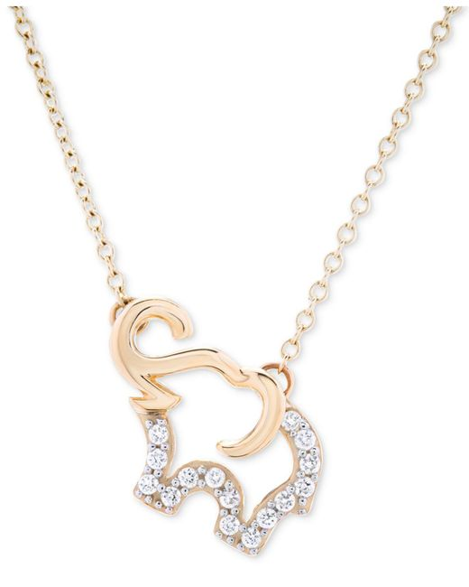 Macy's - Metallic Diamond Elephant Pendant Necklace (1/10 Ct. T.w.) In 10k Gold - Lyst