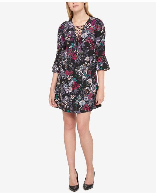 Jessica Simpson | Black Printed Lace-up Bell Sleeve Dress | Lyst