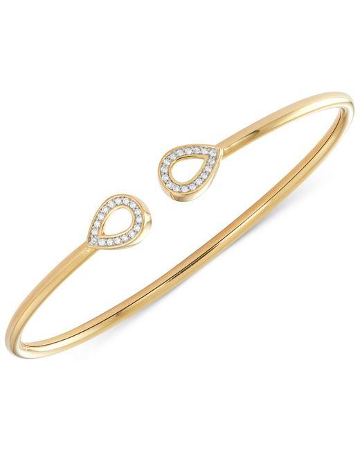 Wrapped in Love - Metallic Diamond Teardrop Shape Flexy Bangle Bracelet (1/6 Ct. T.w.) In 14k Gold-plated Sterling Silver - Lyst