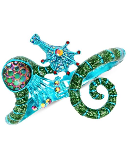 Betsey Johnson - Blue-tone Crystal & Glitter Seahorse Bangle Bracelet - Lyst