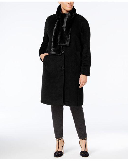 Jones New York - Black Plus Size Walker Coat With Faux-fur Scarf - Lyst