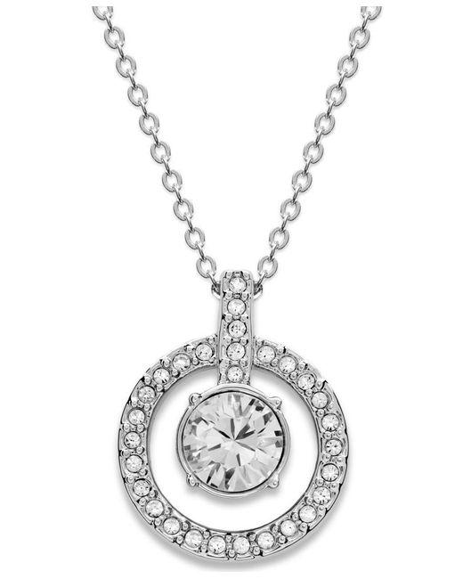 Swarovski | Metallic Necklace, Double Circle Crystal Pendant | Lyst