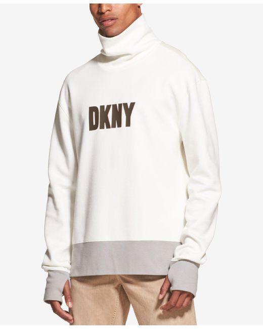 DKNY - White Colorblocked Logo Graphic Funnel-neck Sweatshirt for Men - Lyst