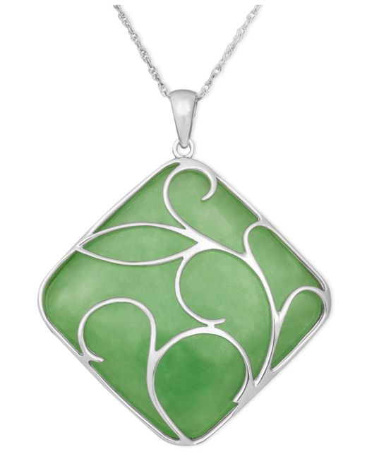 Macy's - Green Sterling Silver Necklace, Jade Swirl Overlay Pendant - Lyst