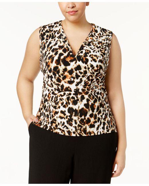 CALVIN KLEIN 205W39NYC - Black Plus Size Animal-print Shell - Lyst