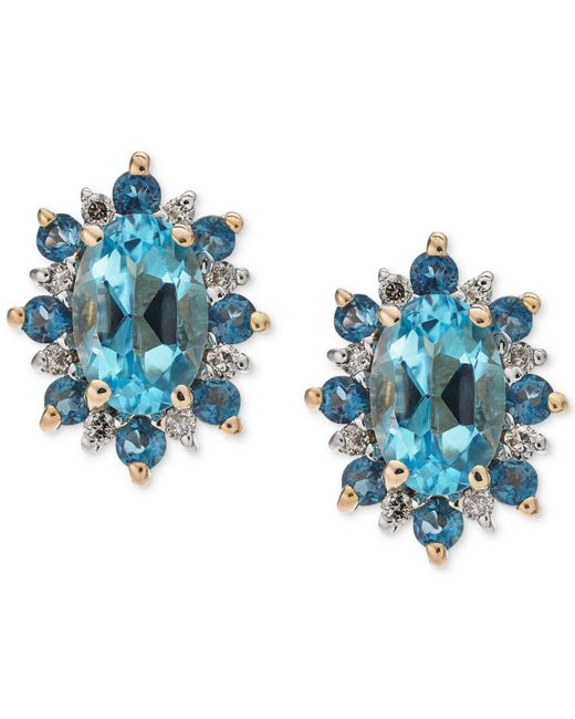 Macy's - Blue Topaz (1-1/5 Ct. T.w.) & Diamond Accent Stud Earrings In 14 Gold - Lyst