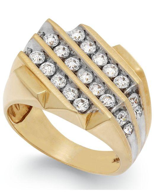 Macy's   Metallic Men's Diamond Three-row Ring In 10k Gold (1-1/2 Ct. T.w.)   Lyst