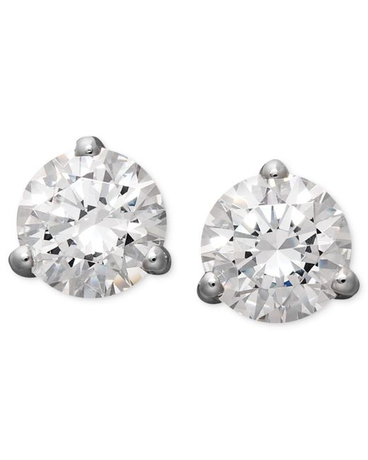 Arabella | 14k White Gold Earrings, Swarovski Zirconia Round Stud Earrings (4-1/4 Ct. T.w.) | Lyst