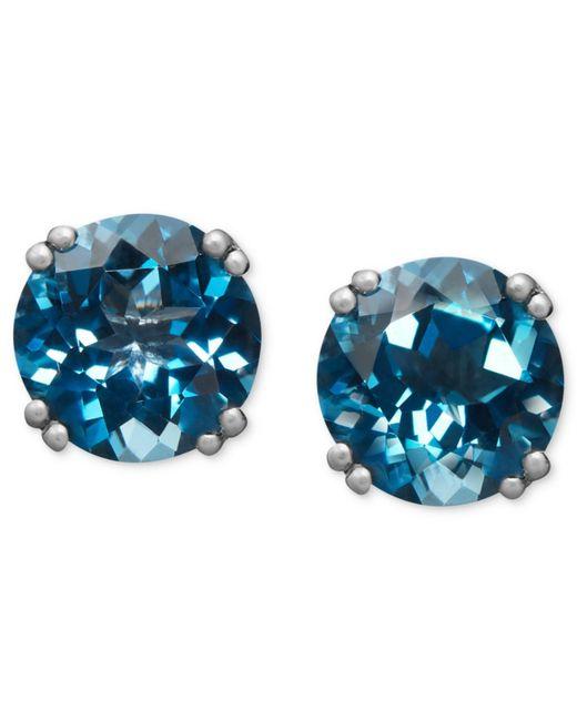 Macy's | 14k White Gold Earrings, London Blue Topaz Stud Earrings (4-1/2 Ct. T.w.) | Lyst