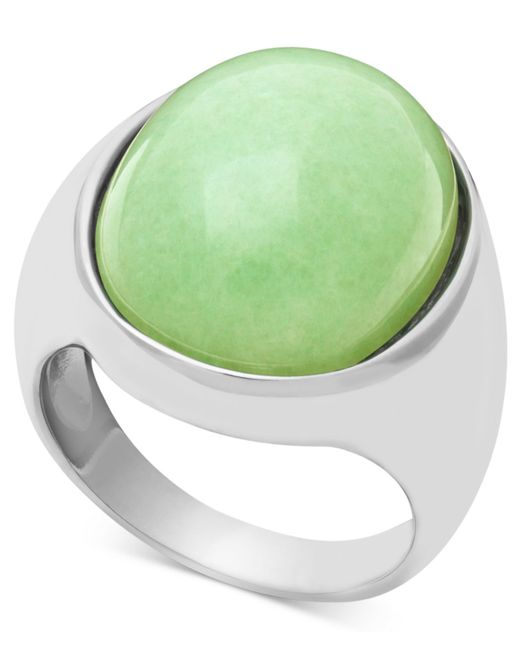 Macy's   Gray Sterling Silver Ring, Large Oval Jade Ring   Lyst