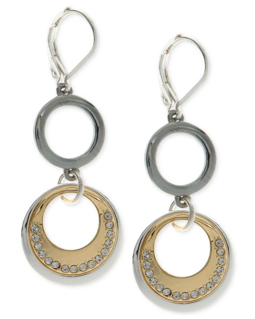 Nine West | Metallic Tri-tone Pavé Circle Double Drop Earrings | Lyst