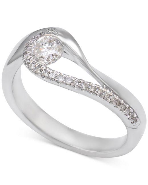 Macy's - Metallic Diamond Asymmetric Engagement Ring (1/2 Ct. T.w.) In 14k White Gold - Lyst