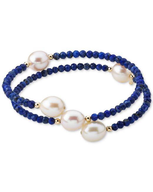 Macy's Blue Cultured Freshwater Pearl (10mm) & Lapis Lazuli (3mm) Wrap Bracelet In 14k Gold (also Black Spinel)