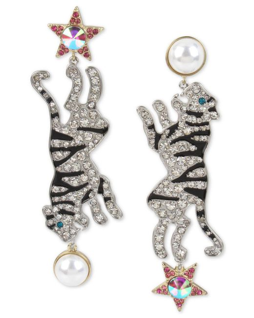 Betsey Johnson - Metallic Two-tone Crystal & Imitation Pearl Tiger Mismatch Earrings - Lyst