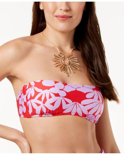 Trina Turk - Red Bali Blossoms Bandeau Top (midnight) Women's Swimwear - Lyst