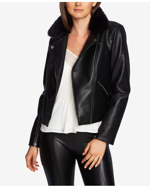 1.STATE - Black Pebbled Faux Leather Moto Jacket - Lyst