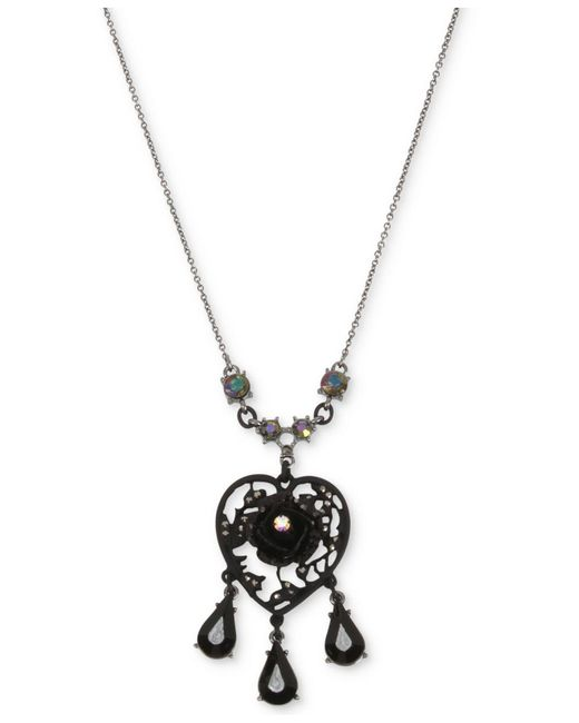 Betsey Johnson | Black Hematite-tone Filigree Heart Flower & Jet Stone Pendant Necklace | Lyst
