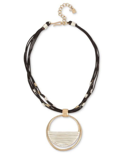 Robert Lee Morris - Black Two-tone Leather Wire Wrapped Pendant Necklace - Lyst