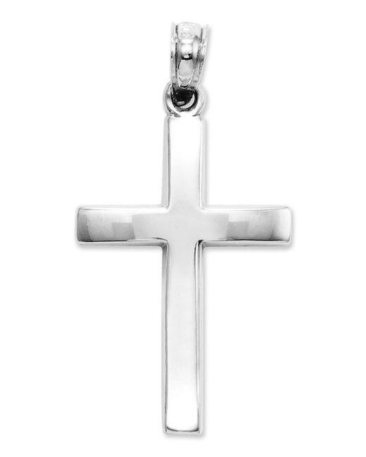 Macy's - 14k White Gold Charm, Beveled Cross Charm - Lyst