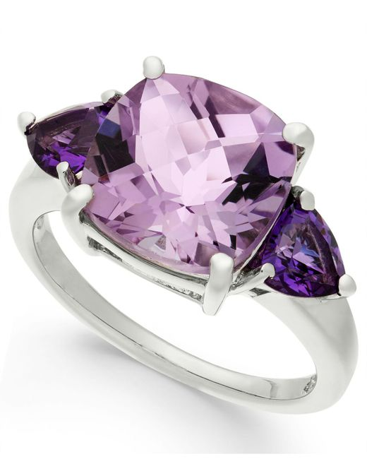 Macy's - Multicolor Amethyst Cushion Ring (4-1/5 Ct. T.w.) In Sterling Silver - Lyst