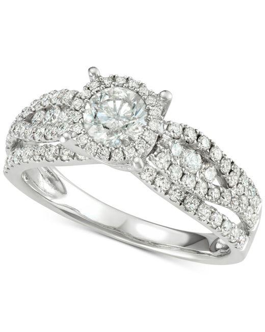 Macy's - Metallic Diamond Halo Engagement Ring (1-1/3 Ct. T.w.) In 14k White Gold - Lyst