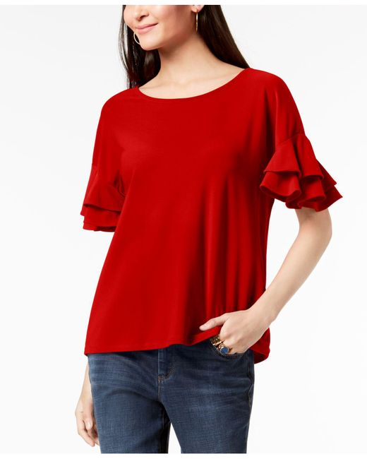 INC International Concepts - Red I.n.c. Ruffled-sleeve Top, Created For Macy's - Lyst