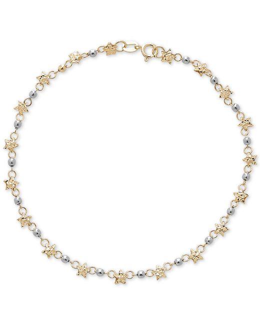 Macy's - Metallic Star & Bead Link Bracelet In 14k Gold - Lyst