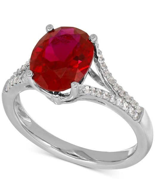 Macy's | Metallic Lab-created Ruby (3-5/8 Ct. T.w.) And White Sapphire (1/5 Ct. T.w.) Ring In Sterling Silver | Lyst