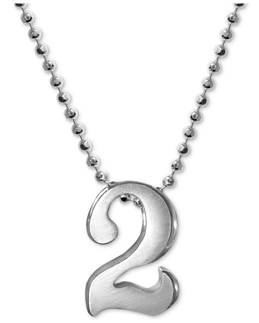 Alex Woo - Metallic Number Pendant Necklace In Sterling Silver - Lyst