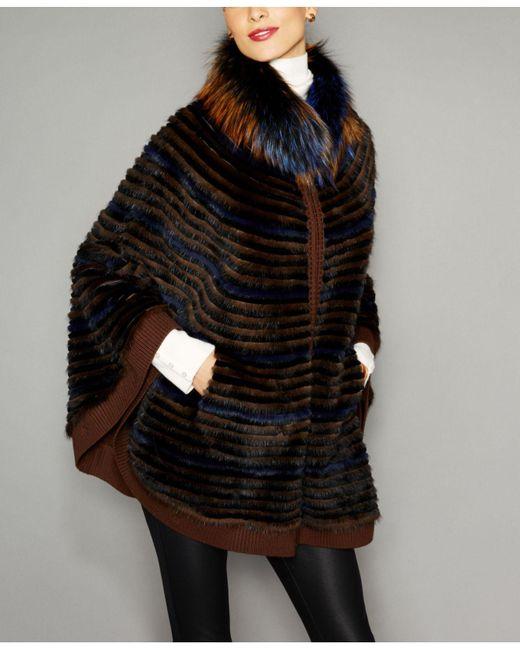ecdbfcf312d The Fur Vault - Black Fox-fur-trim Knitted Mink Fur Cape - Lyst ...