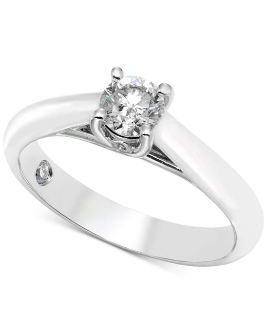 Macy's | Diamond Solitaire Engagement Ring (1/2 Ct. T.w.) In 14k White Gold | Lyst