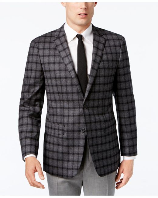 Vince Camuto - Men's Slim-fit Stretch Gray Multi-plaid Sport Coat for Men - Lyst